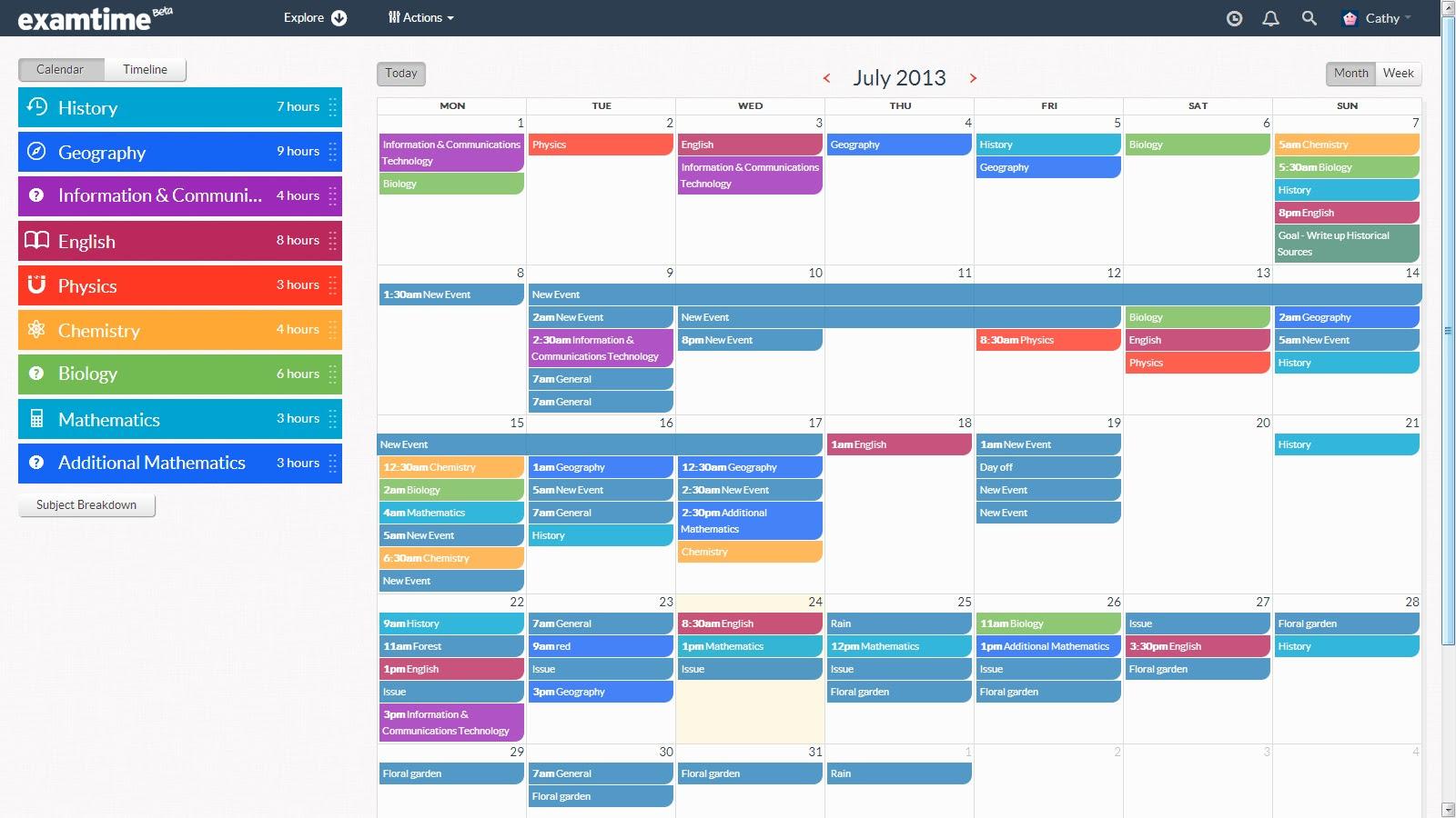 Homework timetable online