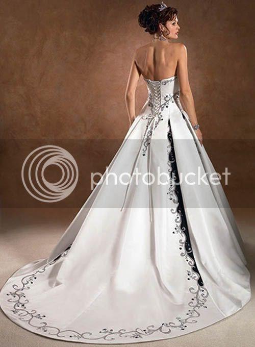 hite wedding dresses with black color combination