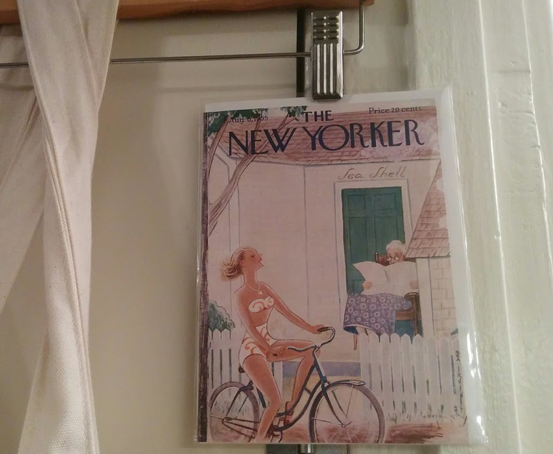 the new yorker cover, august 1955 as a greeting card y grocery bag decoration :)