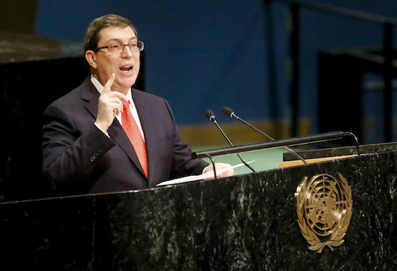 Cuba's Foreign Minister Bruno Rodríguez speaks during a meeting of the U.N. General Assembly, Wednesday Oct. 26, 2016 at U.N. headquarters. The United States has abstained for the first time in 25 years on a U.N. resolution condemning America's economic embargo against Cuba, a measure it had always vehemently opposed. (AP Photo/Bebeto Matthews)