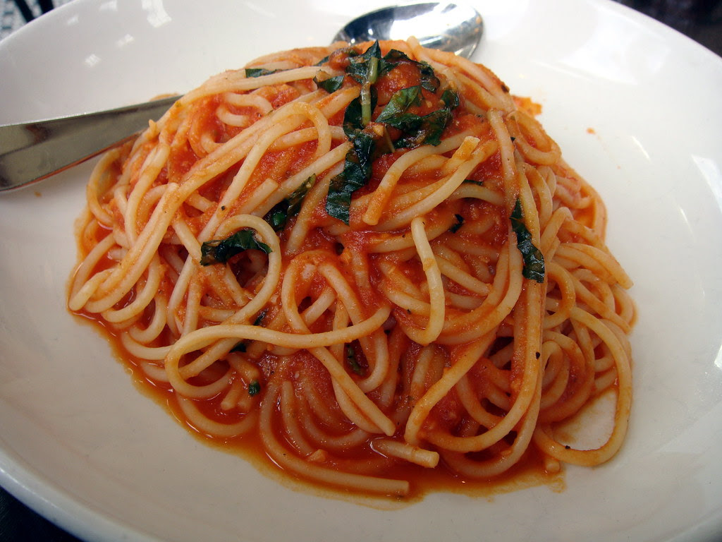 Spaghettini with Tomato Conserva, Garlic and Basil