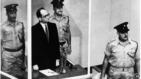 Adolf Eichmann on trial in Jerusalem in 1961