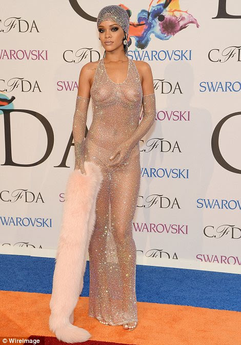 Revealing: While Rihanna opted for a pair of flesh coloured underwear, she went without a bra and onlookers couldn't fail to notice
