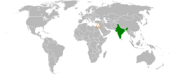 Map indicating locations of India and Israel