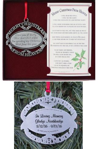 Keepsake Memorial Christmas Ornaments