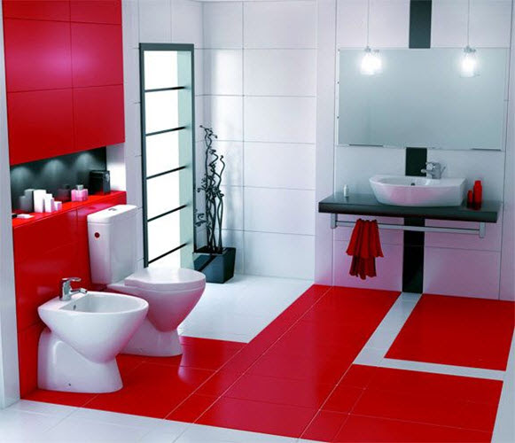 31 red bathroom floor tiles ideas and pictures