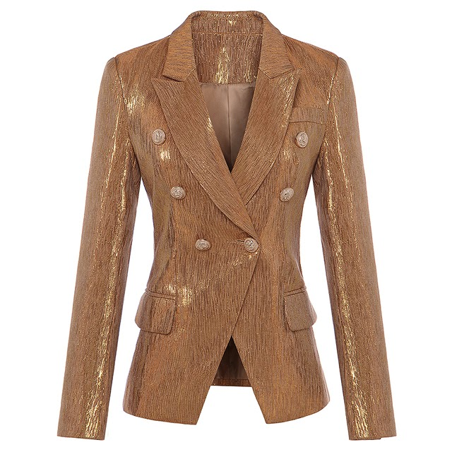 New Fashion Fall Winter 2020 Designer Blazer Women's Lion Metal Buttons Double Breasted Blazer Jack