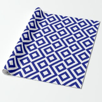 Blue and White Meander Gift Wrap Paper