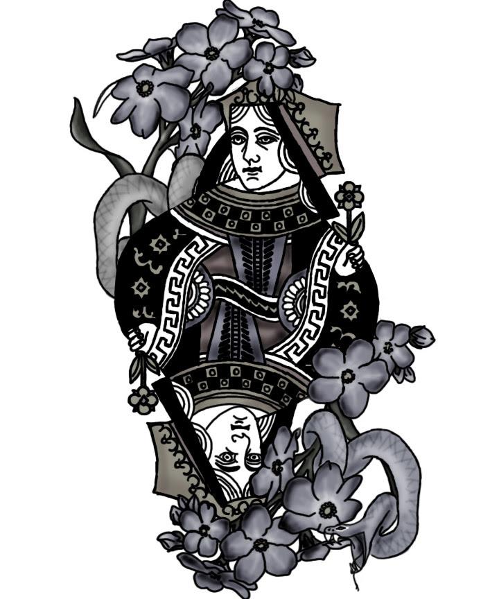 Queen Card Tattoo Traffic Club