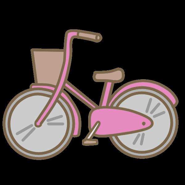 自転車ピンクのイラスト かわいいフリー素材が無料のイラストレイン