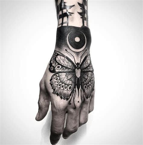 black butterfly guys hand tattoo design ideas