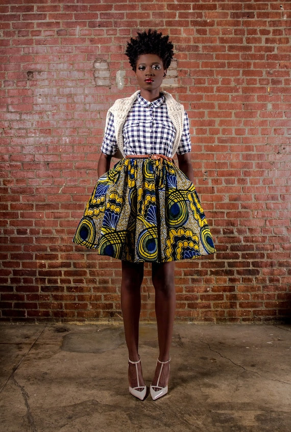 NEW The Maggie -African Print 100% Holland Wax Cotton Mini Skirt