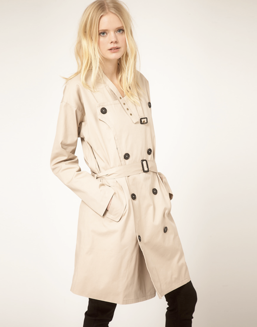 JUST FEMALE LABEL ASOS COLLECTION BASIC CLEAN SIMPLE OVERSIZED TRENCH COAT MOTO NECK 5