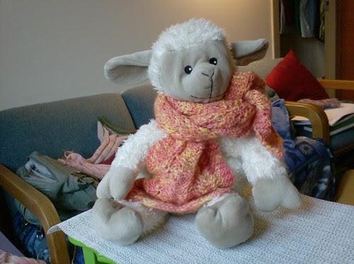 Sheepy Hot Hugs sheep in handspun handknit wool orange scarf
