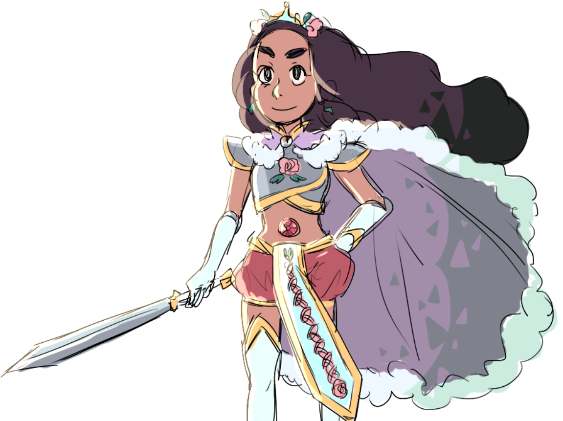 I DIDNT THINK TO ADD STEVONNIE heres both, knight connie and prince steven, and sovereign stevonnie
