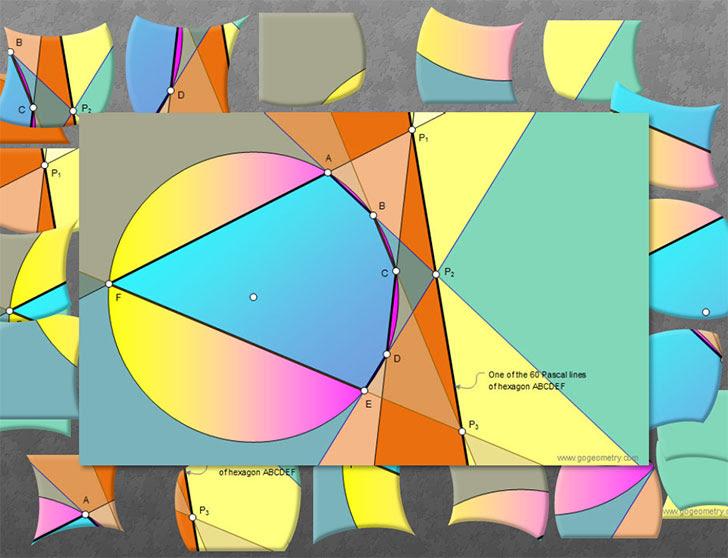 Geometry: Jigsaw Puzzle: Pascal's Theorem. Mystic Hexagram. 24 Pieces.