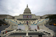 Workers prepared the Inaugural stage on Capitol Hill on Thursday.