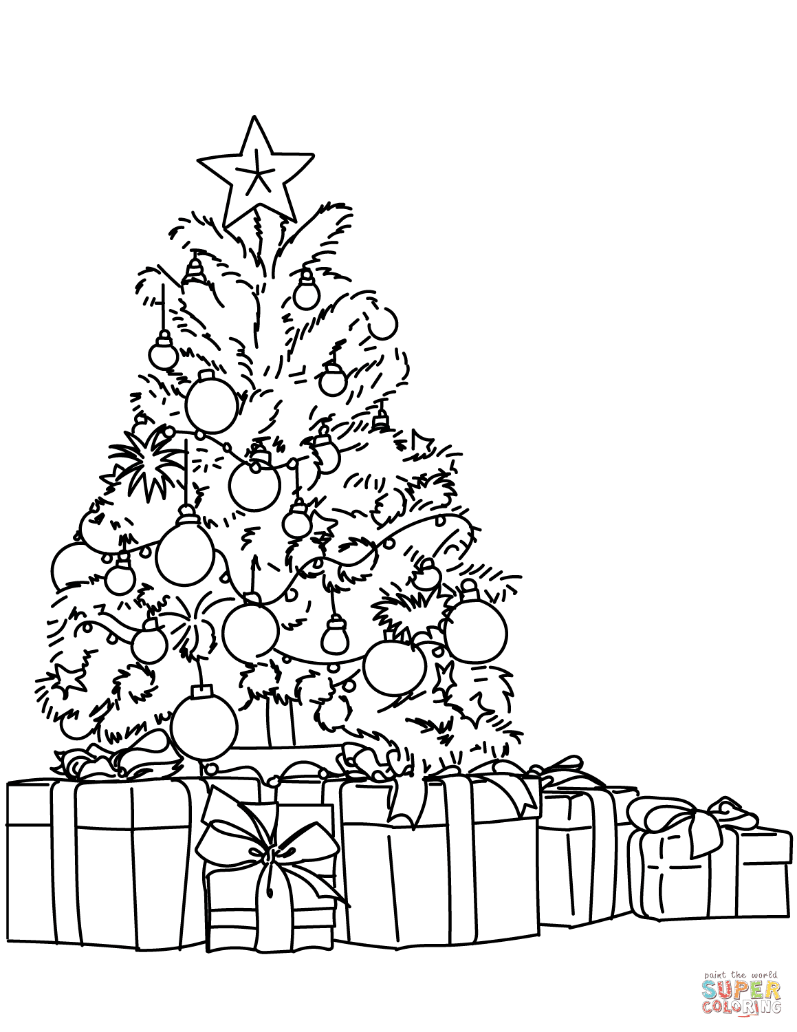 Lots of Gifts Around the Christmas Tree coloring page ...