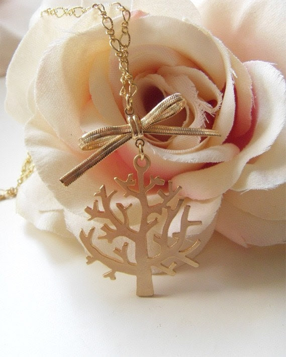 The Giving Tree. Whimsical vintage tree charm with dainty brass ribbon necklace