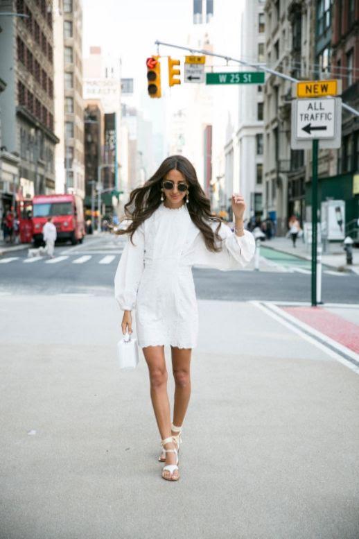 Le Fashion Blog White Eyelet Mini Dress Balloon Sleeves White Bag Lace Up Sandals Via Something Navy