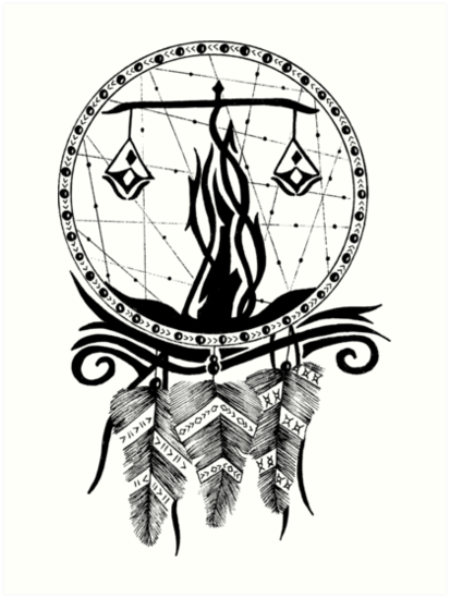 Láminas Artísticas Arte De Línea De Atrapasueños Tribal En Blanco Y