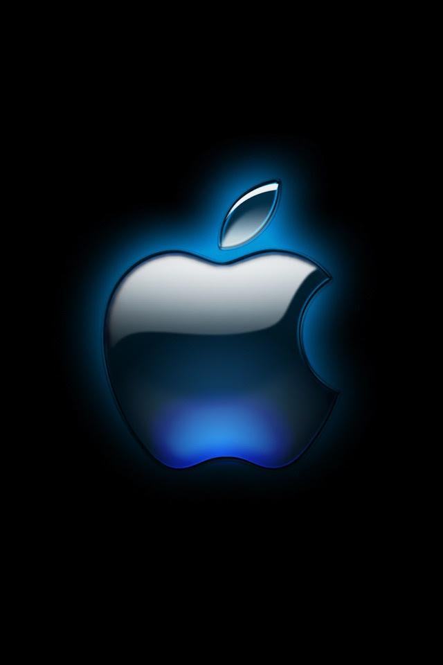 Computers - Black Glossy Apple Logo Wallpaper - iPad ...