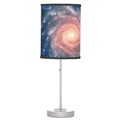 Monogram Spiral Galaxy: Deep space astronomy image Table Lamp