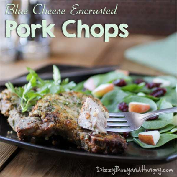 Coat pork chops in blue cheese and Panko, bake in the oven & enjoy 30 minutes later!