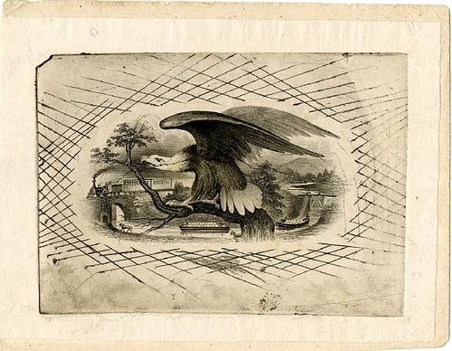 Eagle sitting on a branch at centre. Canal scene and train in motion in the background. Design printed in black. (19th c)