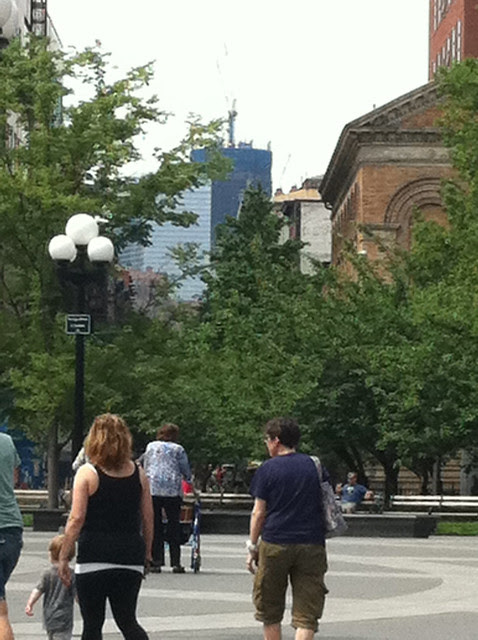 One World Trade Center (in progress) as seen from Washington Square Park