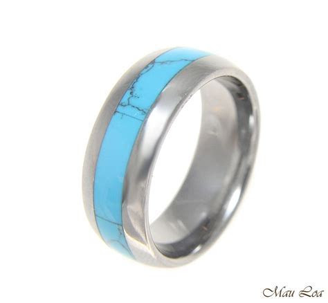 Tungsten 8mm Wedding Band Ring Unisex Blue Turquoise Inlay