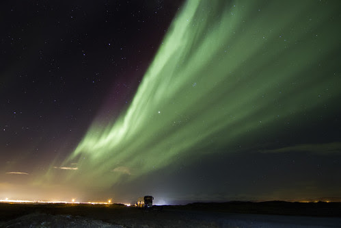 The Northern Lights over Reykjavik, Iceland
