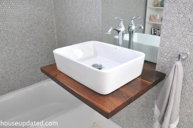 Diy Walnut Floating Shelf Sink Vanity House Updated