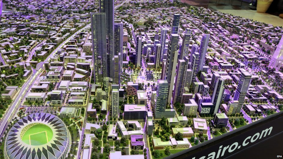 A  picture made available on 16 March 2015 shows a scale model of a planned new capital for Cairo during the second day of the Egypt Economic Development Conference (EEDC), in the Red Sea resort of Sharm El-Sheikh, Egypt
