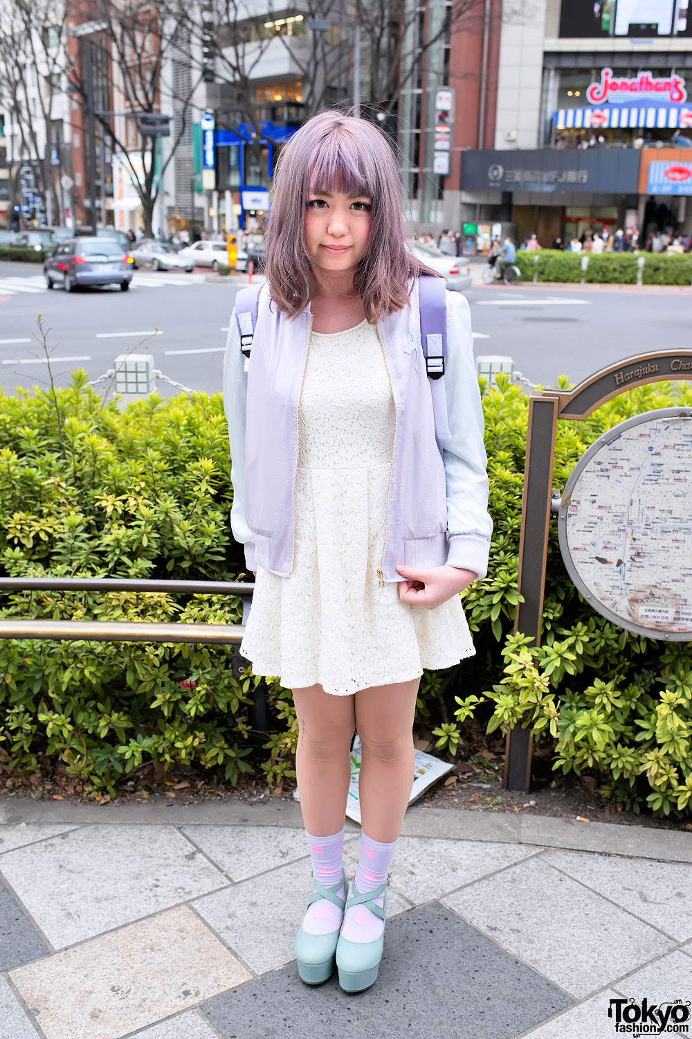 pastel hair  pastel fashion w cute backpack in harajuku