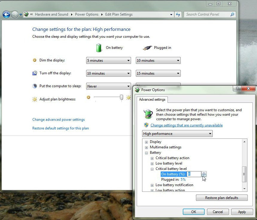 Battery settings in Windows 7. (Click for larger image.)