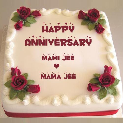 Happy Anniversary Sweet Red Rose Cake With Couple Name