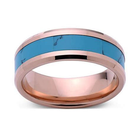 Turquoise Inlay Tungsten Ring   Rose Gold Tungsten Band