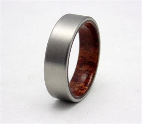 Titanium and Mahogany wood wedding band