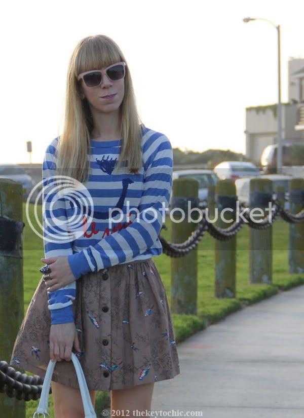 striped top, bird print skirt, floral handbag, California personal style blog