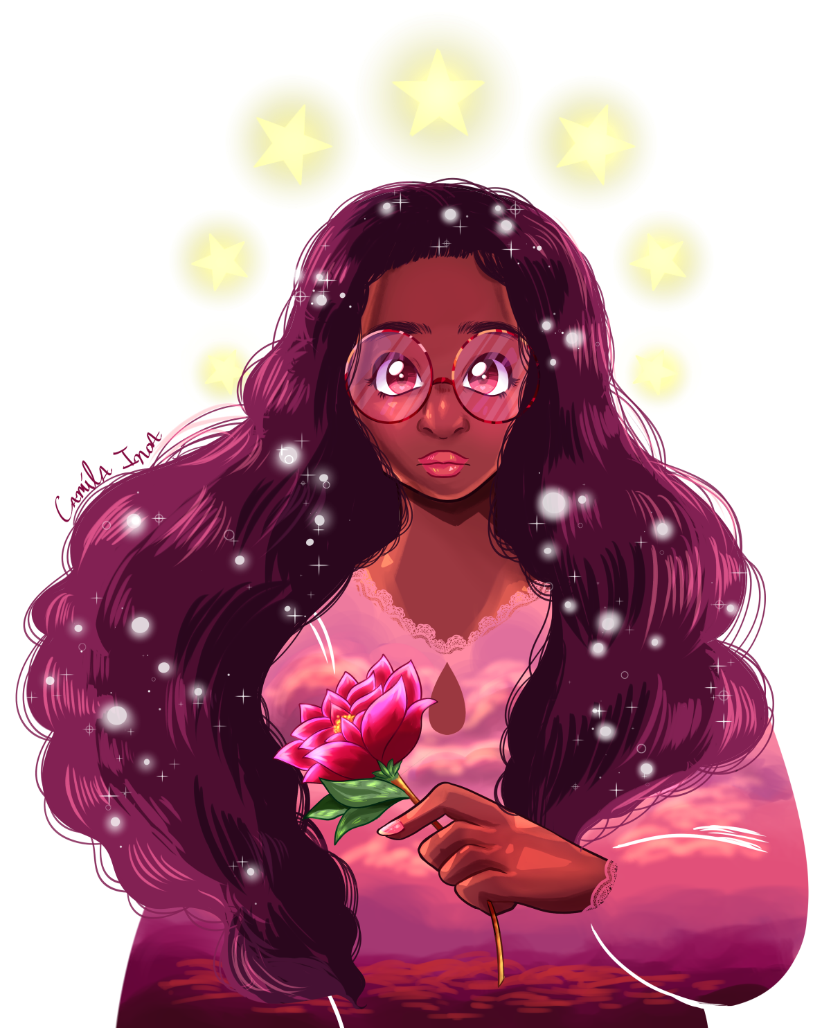 A transparent Connie + doodles of her w/ roses in her hair AU from twitter. 🌹