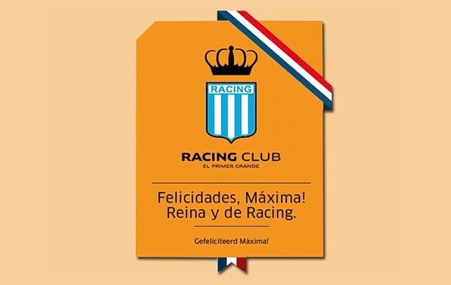 Con un afiche, Racing saludó a la nueva reina holandesa