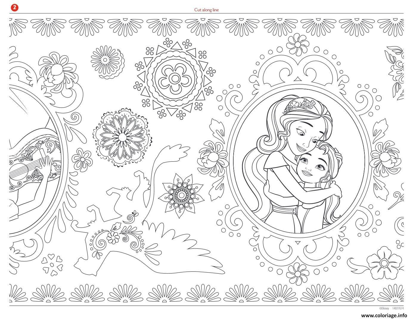 Coloriage Mandala Zentagle Adulte Disney Elena Avalor Jecoloriecom