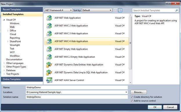 Create MVC 4 App