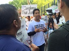 samunchon blogspot: Protesting Prayuth Chan-ocha at the UN, New York on 26 September 2015 Part 2