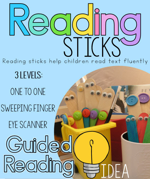 Guided reading sticks - 3 levels to help motivate children and develop reading skills