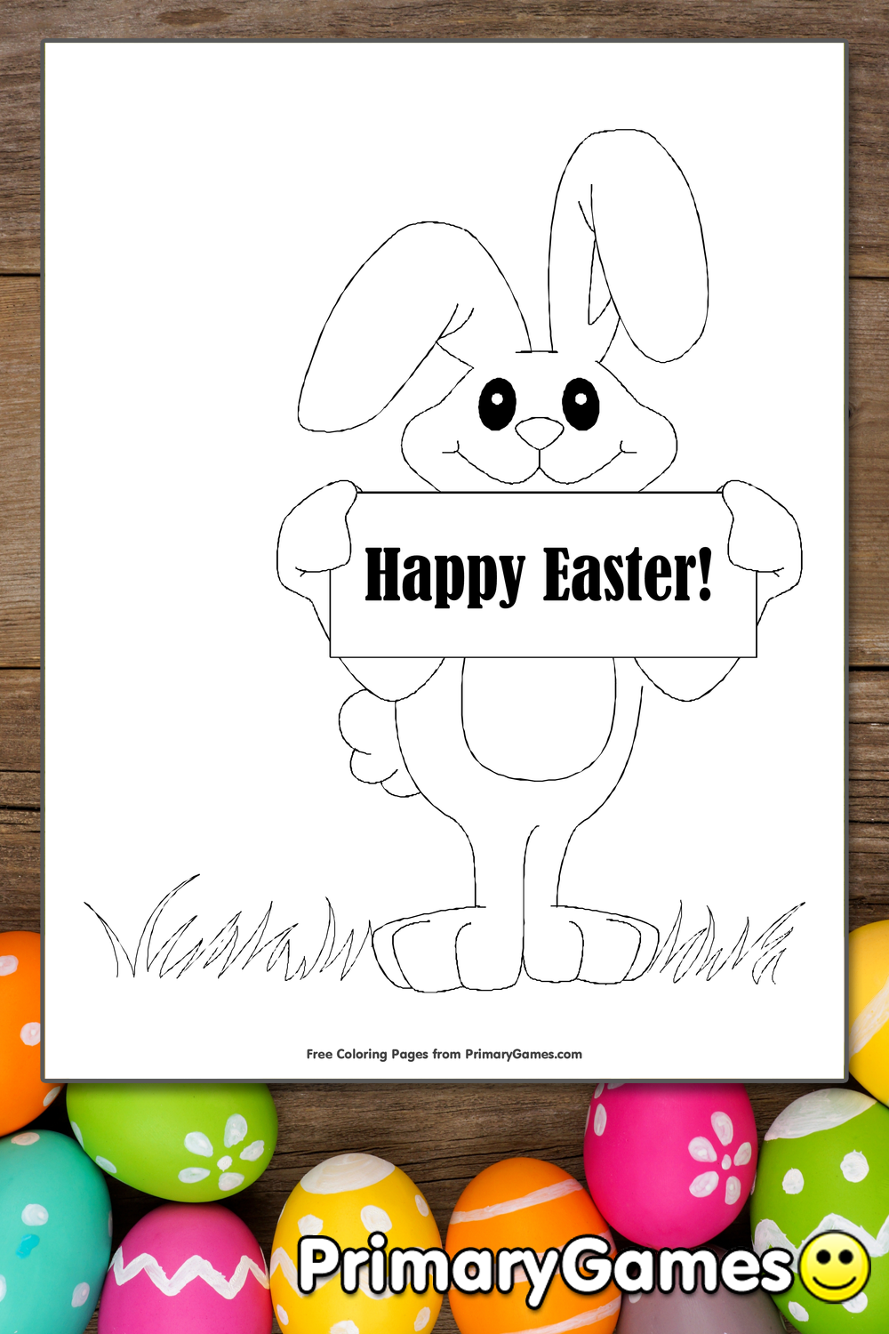 Happy Easter Bunny Coloring Page | Printable Easter ...