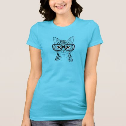Unique Hand Drawn Nerdy Cat Women's Turquoise Tee