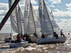 J/24 sailboats- at start off Argentina