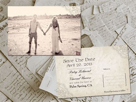 Vintage Postcard Wedding Save the Date with Engagement